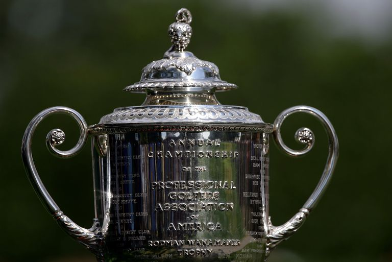 Detail view of the Wanamaker Trophy for the PGA Championship