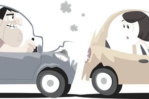 Cartoon drawing of two cars after a minor accident