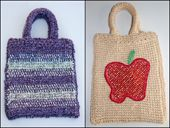 Tunisian Crochet Bag Patterns -- Striped Purse and Apple Purse Worked in Afghan Stitch