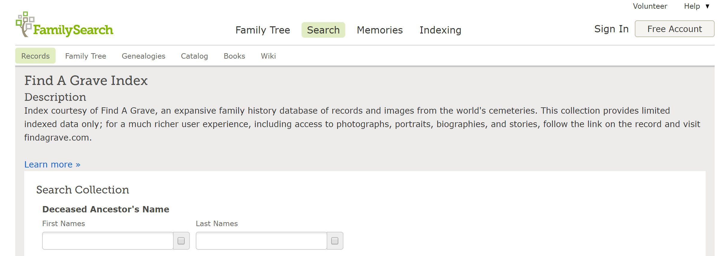 Screenshot from the FamilySearch Find A Grave Index.