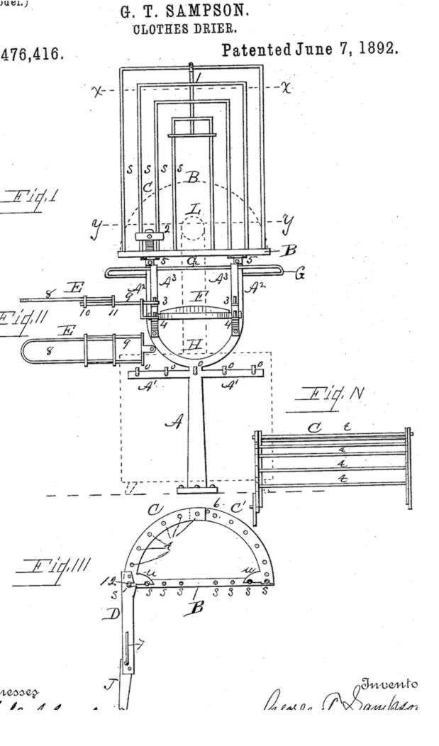 George Sampson - Clothes Dryer U.S. Patent #476,416