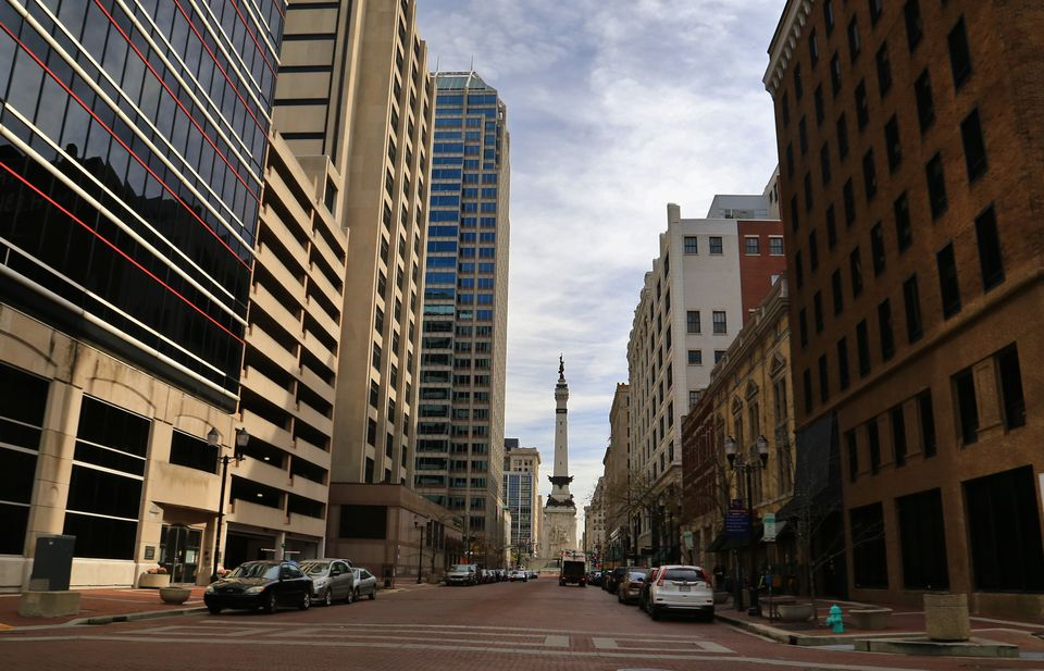 Looking West down W.Market street at the Soldiers and Sailors Monument, Indianapolis, Indiana, United States