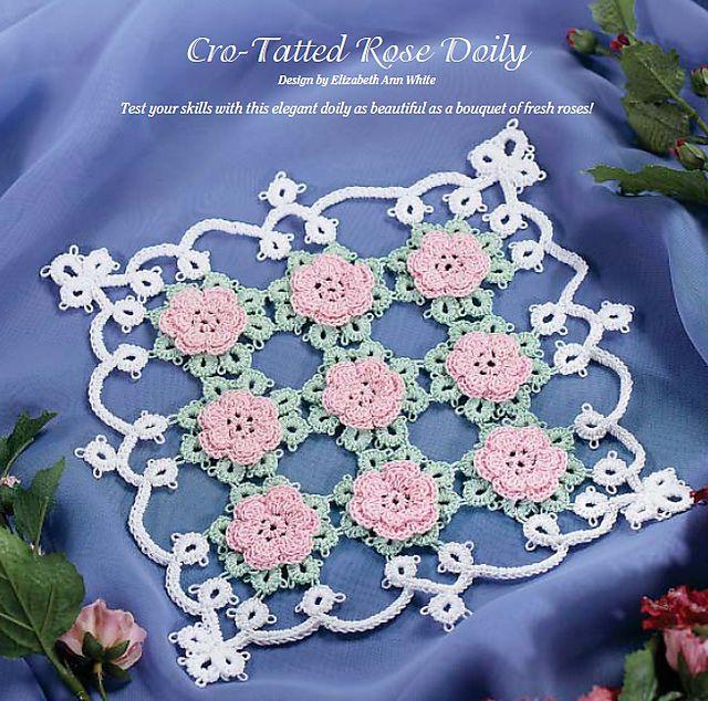 crotat rose doily free crochet pattern