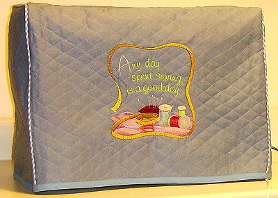 Completed Sewing Machine Cover On a Janome Memory Craft 11000