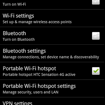 Android Wireless & networks Settings