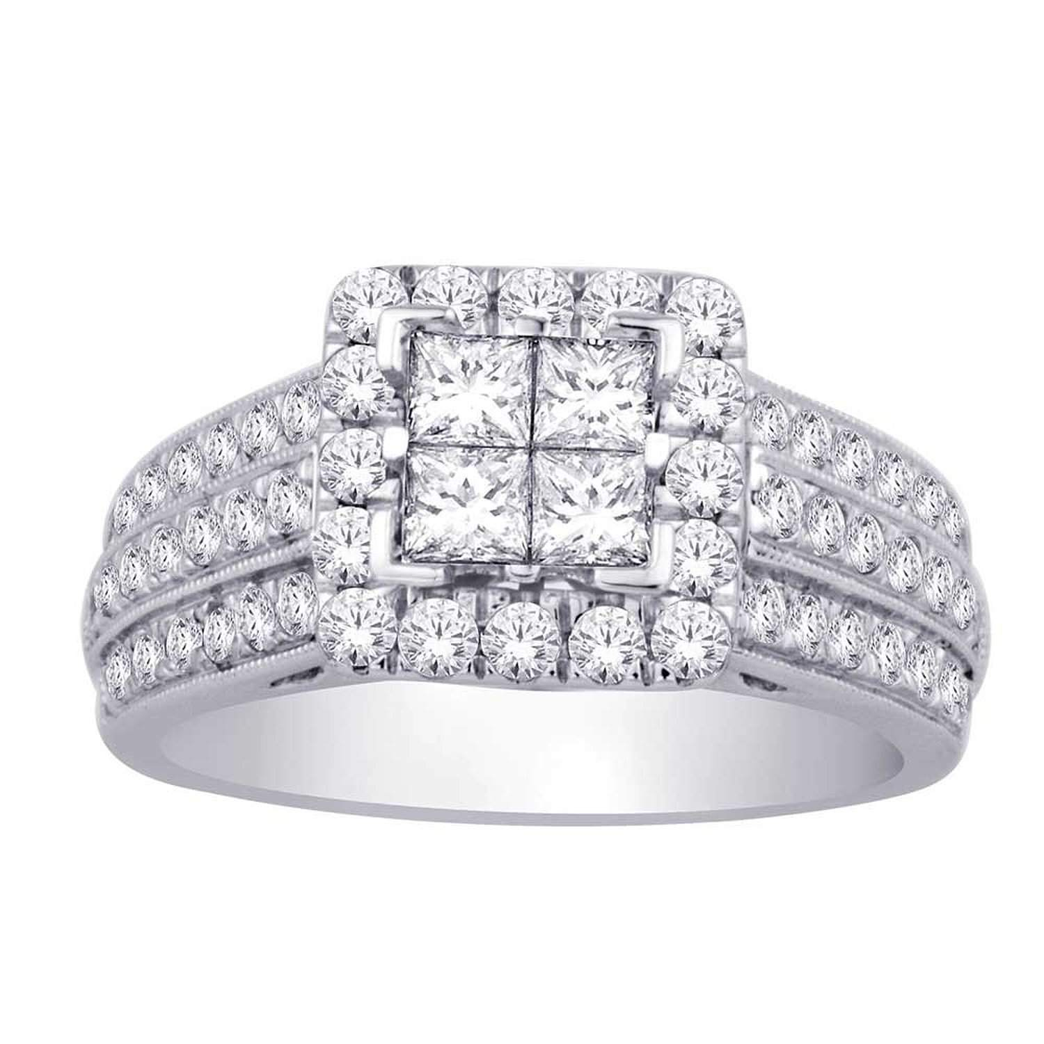 set out solid this gorgeous cut round an and diamond crafted ring itm with white setting gold princess features ctw semi invisible diamonds cocktail is mount of