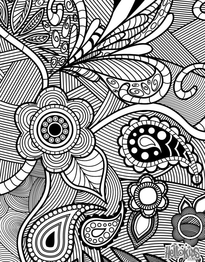an adult coloring page featuring flowers and paisleys