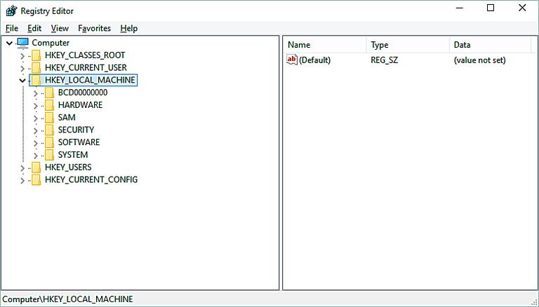 Screenshot of the HKEY_LOCAL_MACHINE hive in the Windows Registry in Windows 10