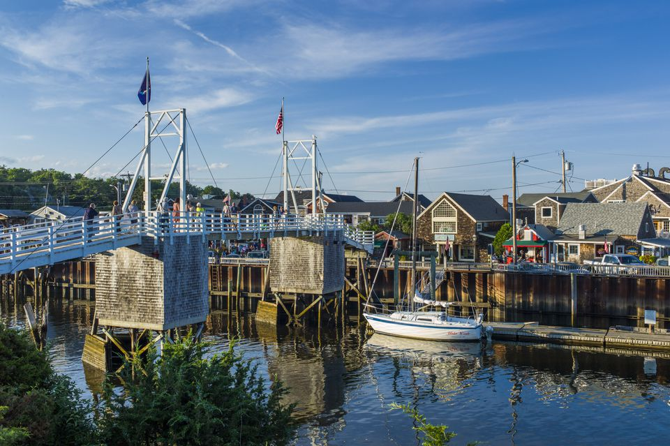 Footbridge at Perkins Cove under blue sky