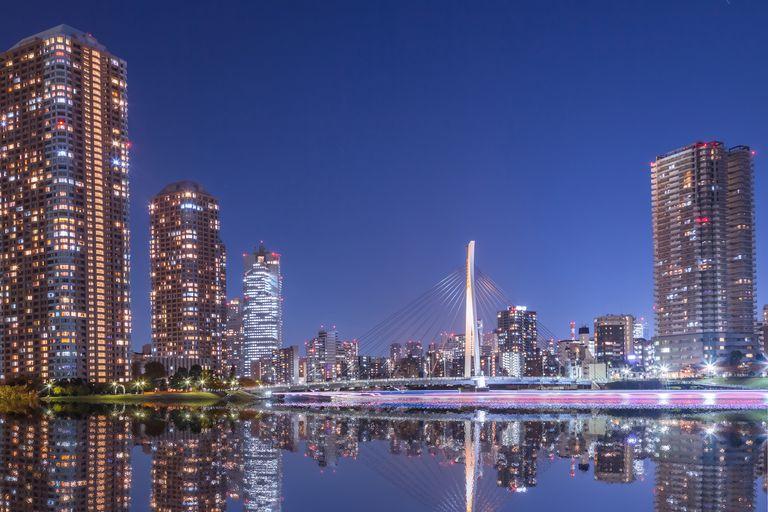 Urban reflection at Tokyo Tsukishima at night