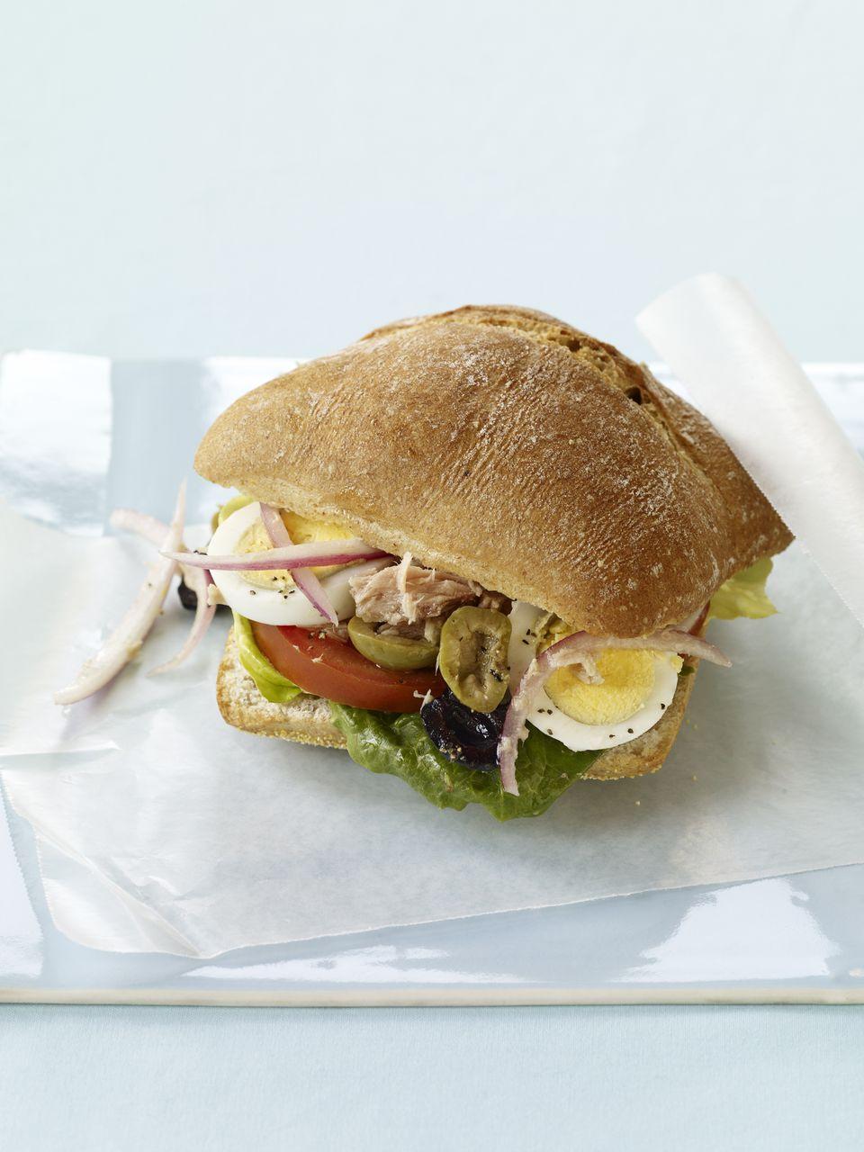tuna nicoise style sandwich