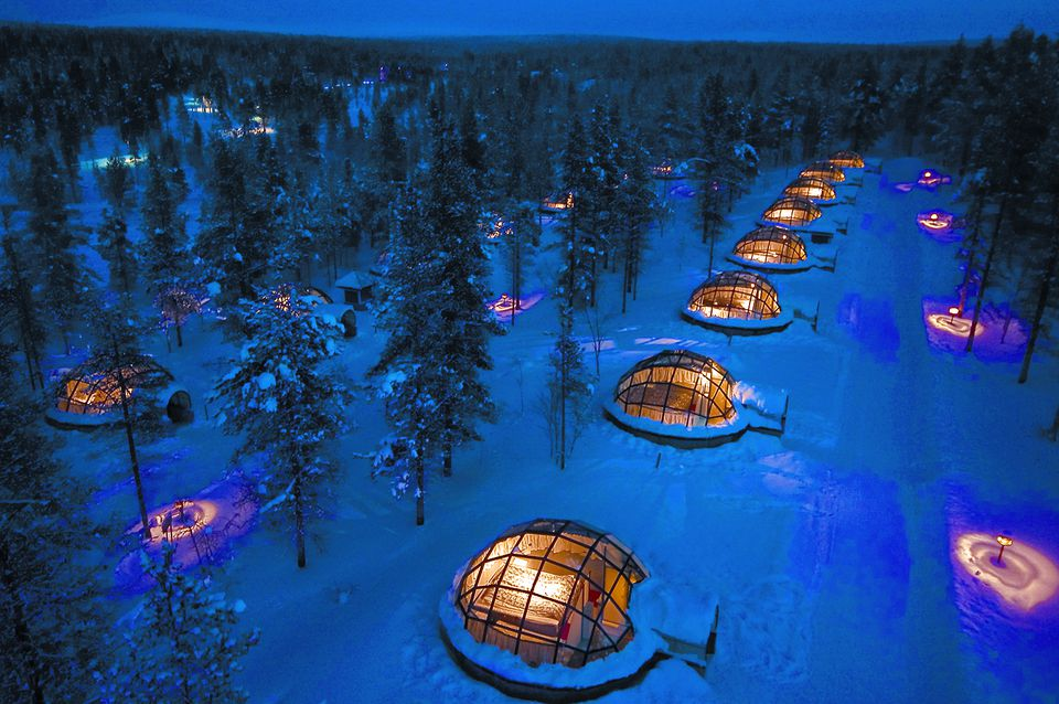 Glass igloos at Kakslauttanen Arctic Resort