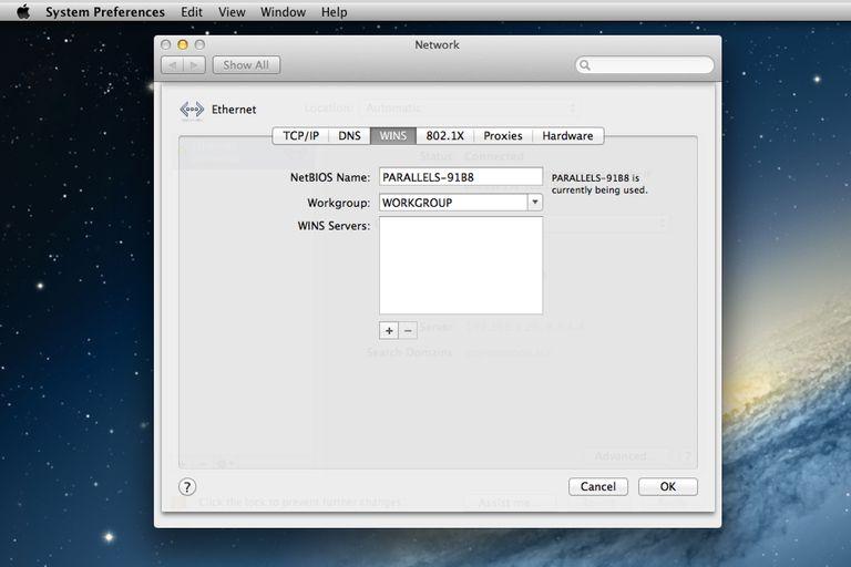 Setting Workgroup Name in OS X Mountain Lion