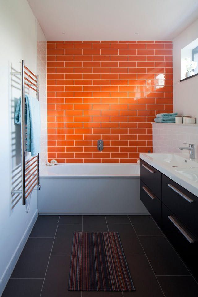 Bathroom With Orange Subway Tile Wall