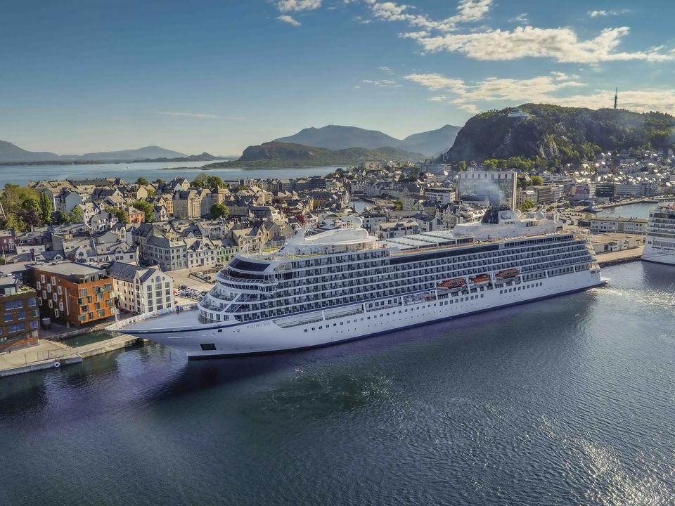 Viking Sea cruise ship at the dock in Alesund, Norway