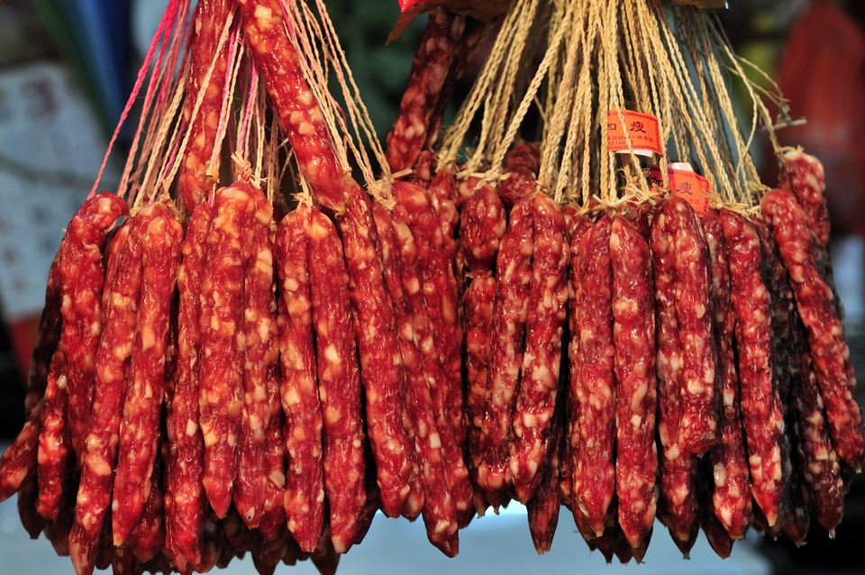 Chinese sausages in Farmers Market, Guangzhou