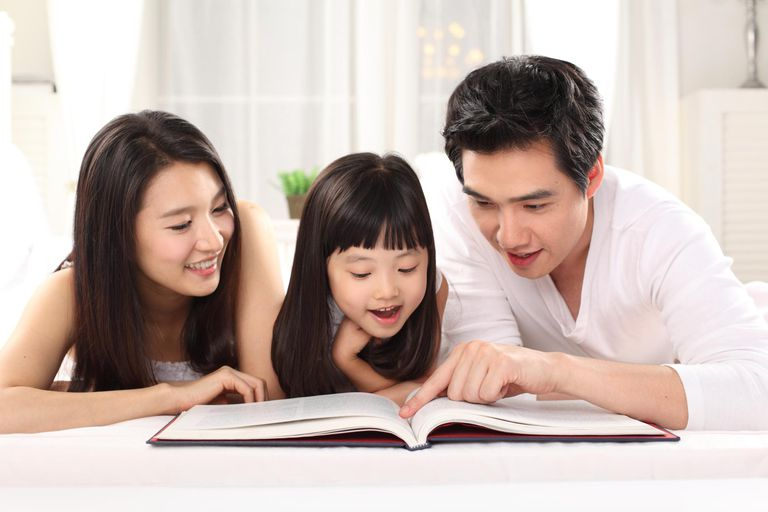 Family reading a book.
