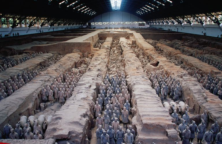 Famous 2000 year old Army of Terracotta Warriors (Bingmayong) discovered in 1974.