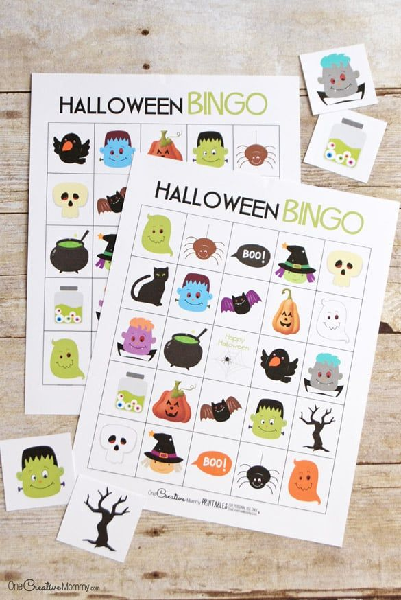 halloween bingo cards and callout cards on a table - Preschool Halloween Bingo