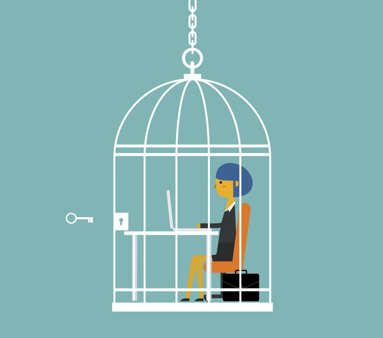 A business woman trapped in a cage symbolizes Max Weber's concept of the iron cage of rationality.