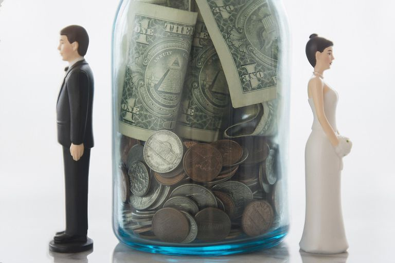 A jar of money between a divorcing couple