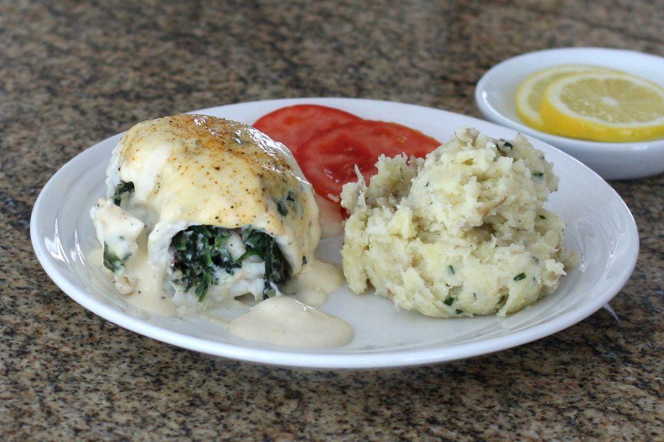 Flounder florentine rolls recipe for Side dishes for baked fish