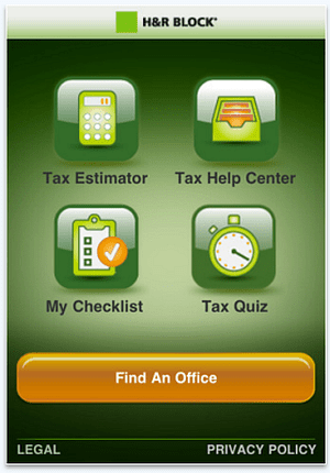 H&R Block Tax Central Tax App for iPhone and Android mobile devices.