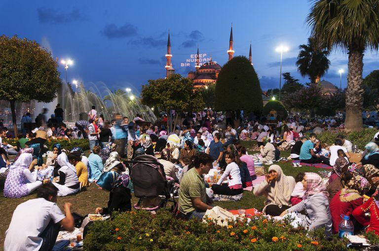 Sunset fast breaking picnic during Ramadan