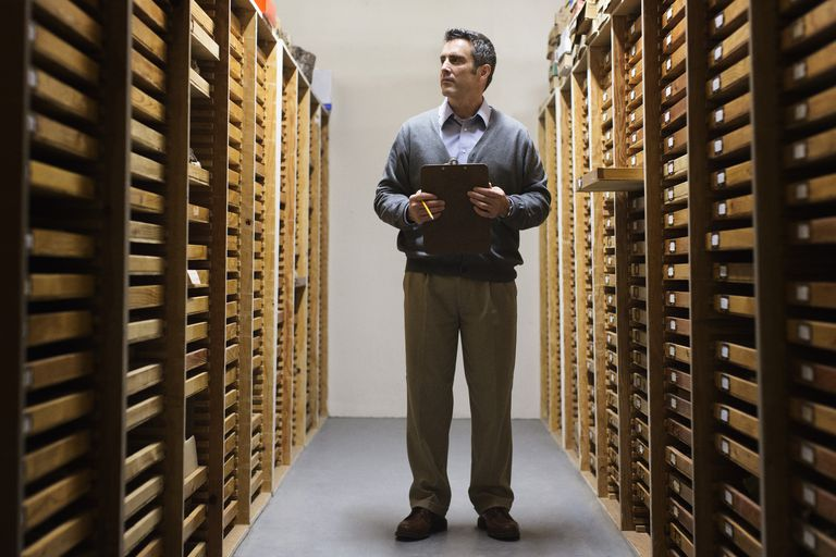 Man working in museum archive