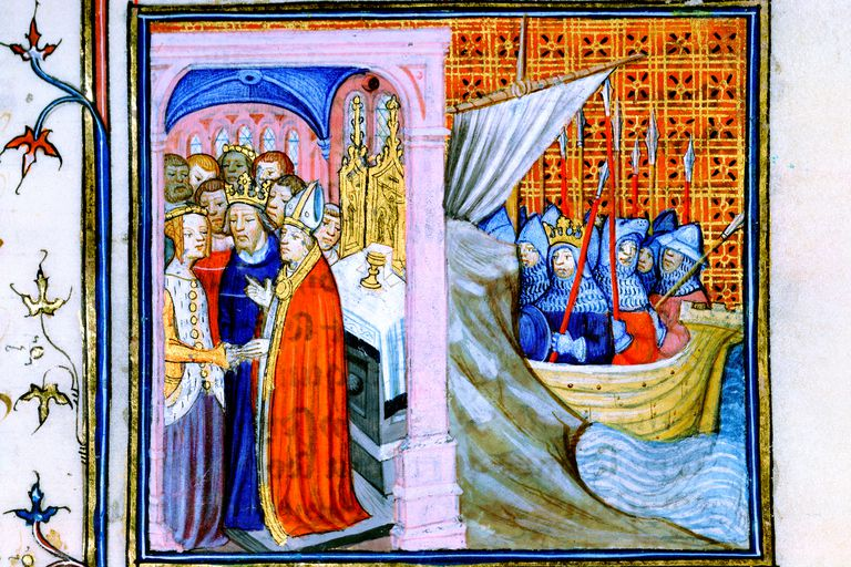Marriage of Eleanor of Aquitaine and Louis VII, and Louis traveling to cruisade