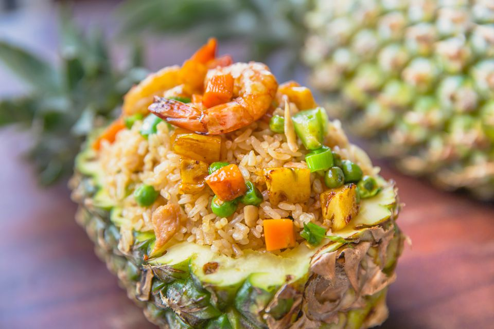 Thai pineapple fried rice with shrimp