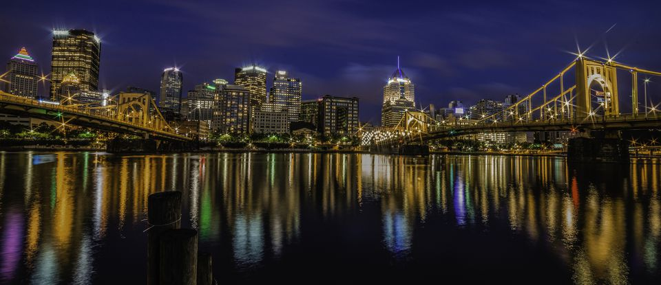 Pittsburgh skyline after dark.