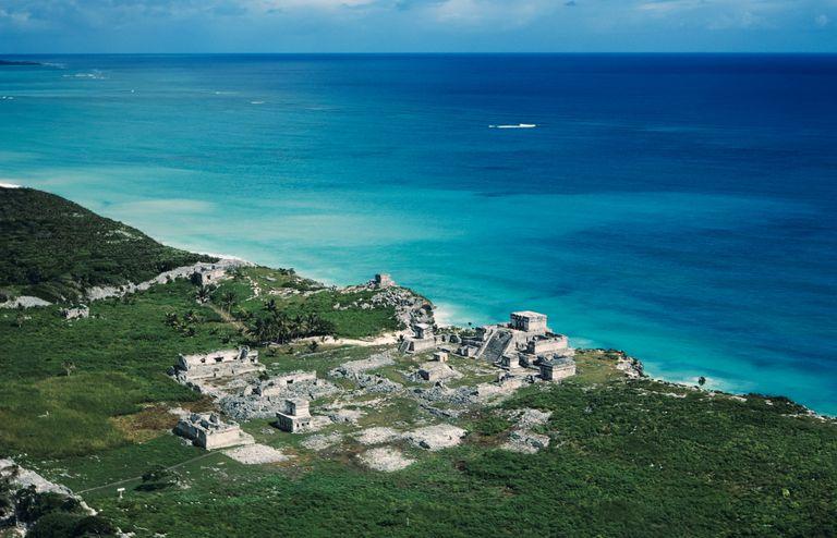 Aerial View of Tulum, Maya Trading Center on the Gulf Coast of the Yucatan Peninsula