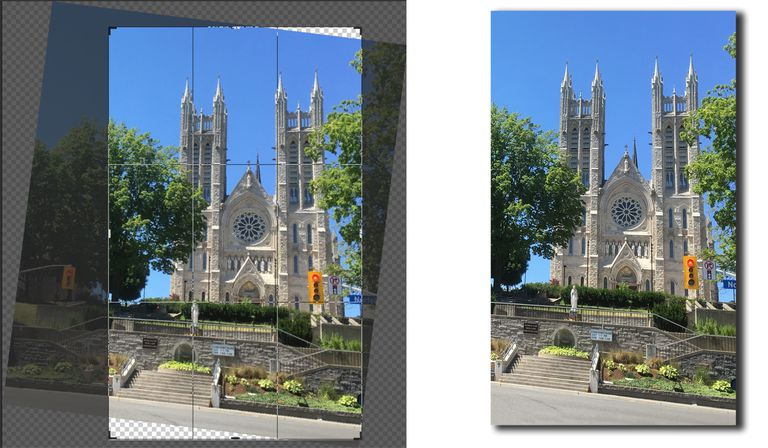 The image of a church on the left shows Content Aware Cropping is on and the image ion the right shows the result.