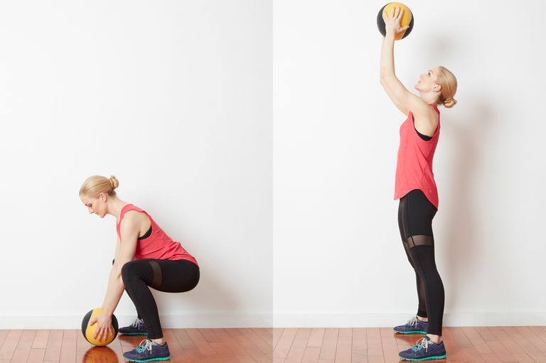 Squat and Sweep with a Medicine Ball