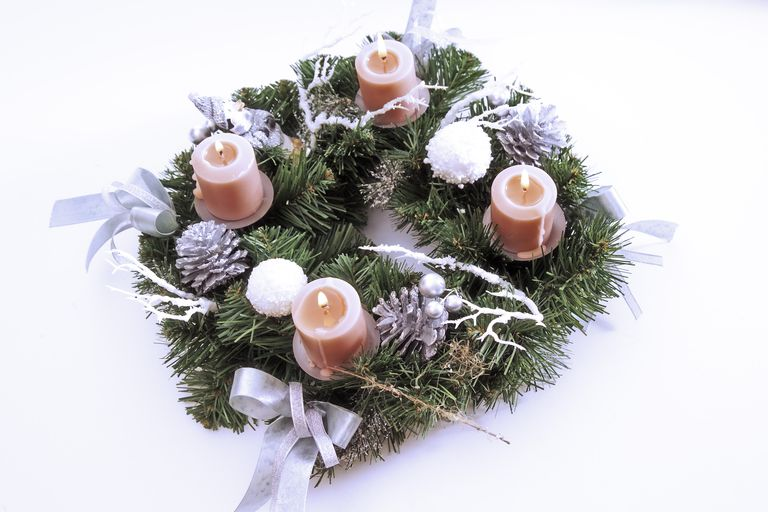 Candles in advent wreath, elevated view
