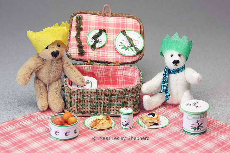 Miniature Bears Picnic with a Dolls House Picnic Basket