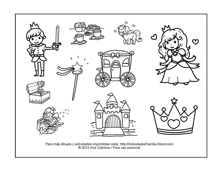10 dibujos de princesas para colorear
