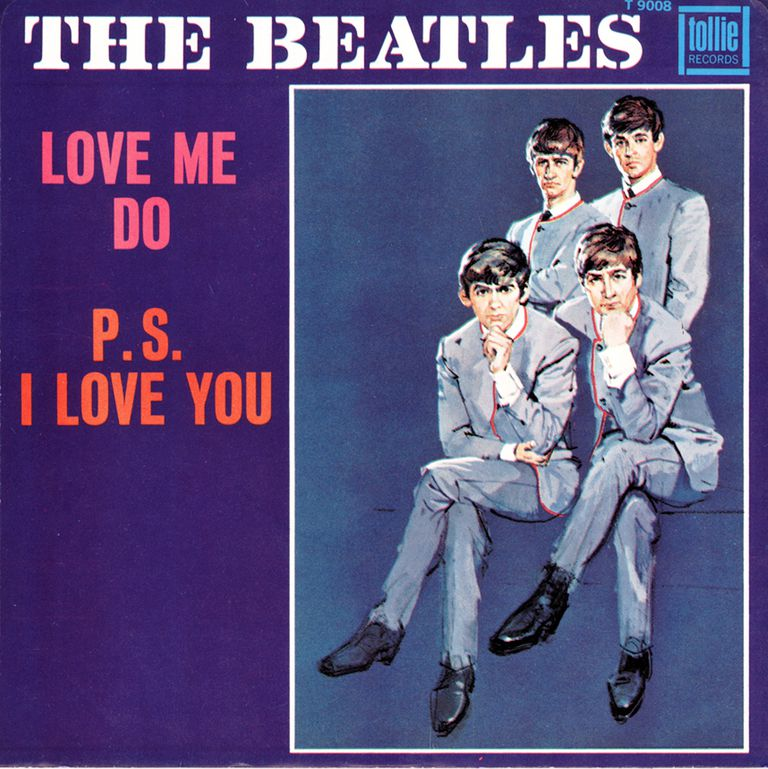 "The original UK picture sleeve for the single of ""Love Me Do"""