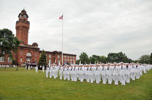 Recruits stand at attention on Ross Field