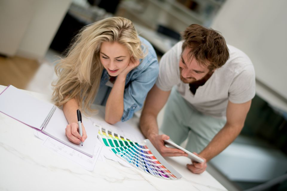 Couple redecorating their home