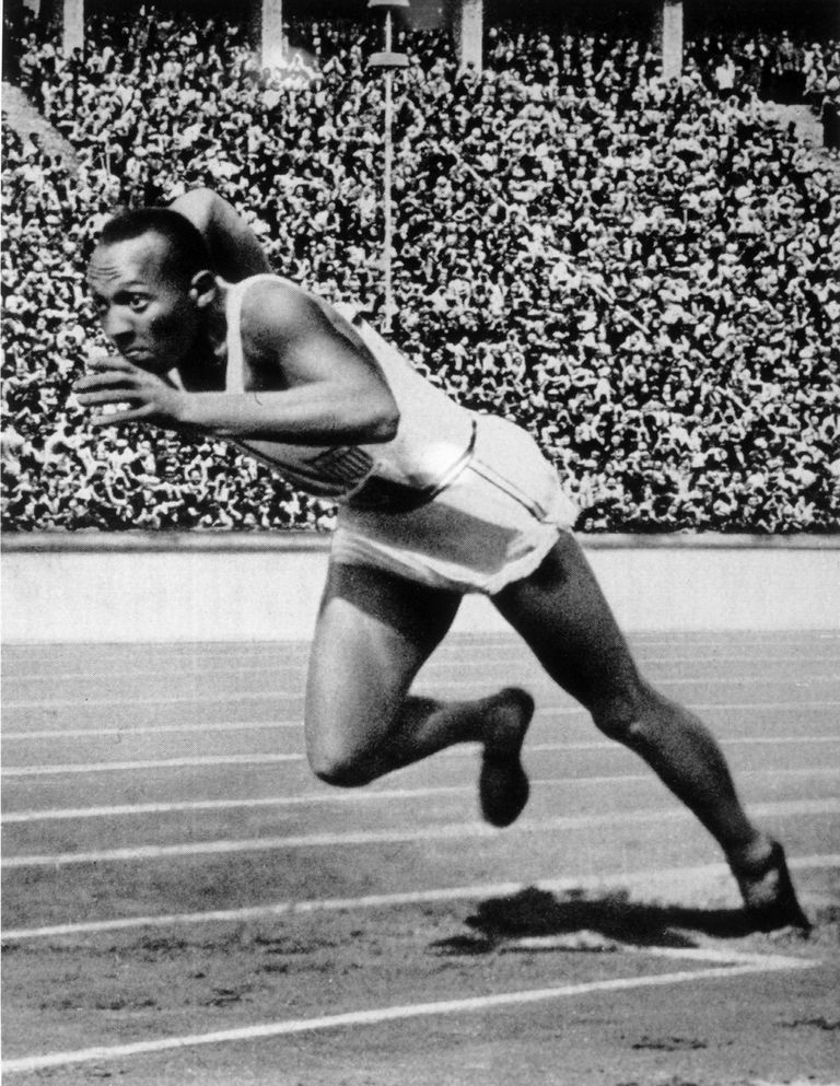 BERLIN - 1936 : Jesse Owens of the USA in action in the mens 200m at the 1936 Summer Olympic Games held in Berlin, Germany.