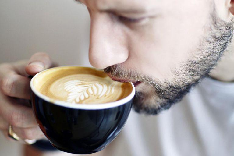 coffee, black cup, man, woollen hat, beard