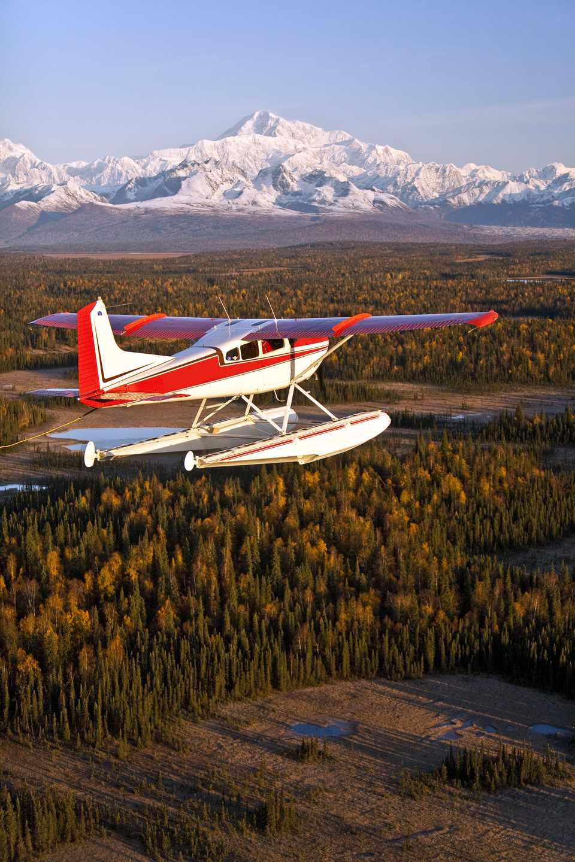 Floatplane in Flight with South Side of Denali in Background