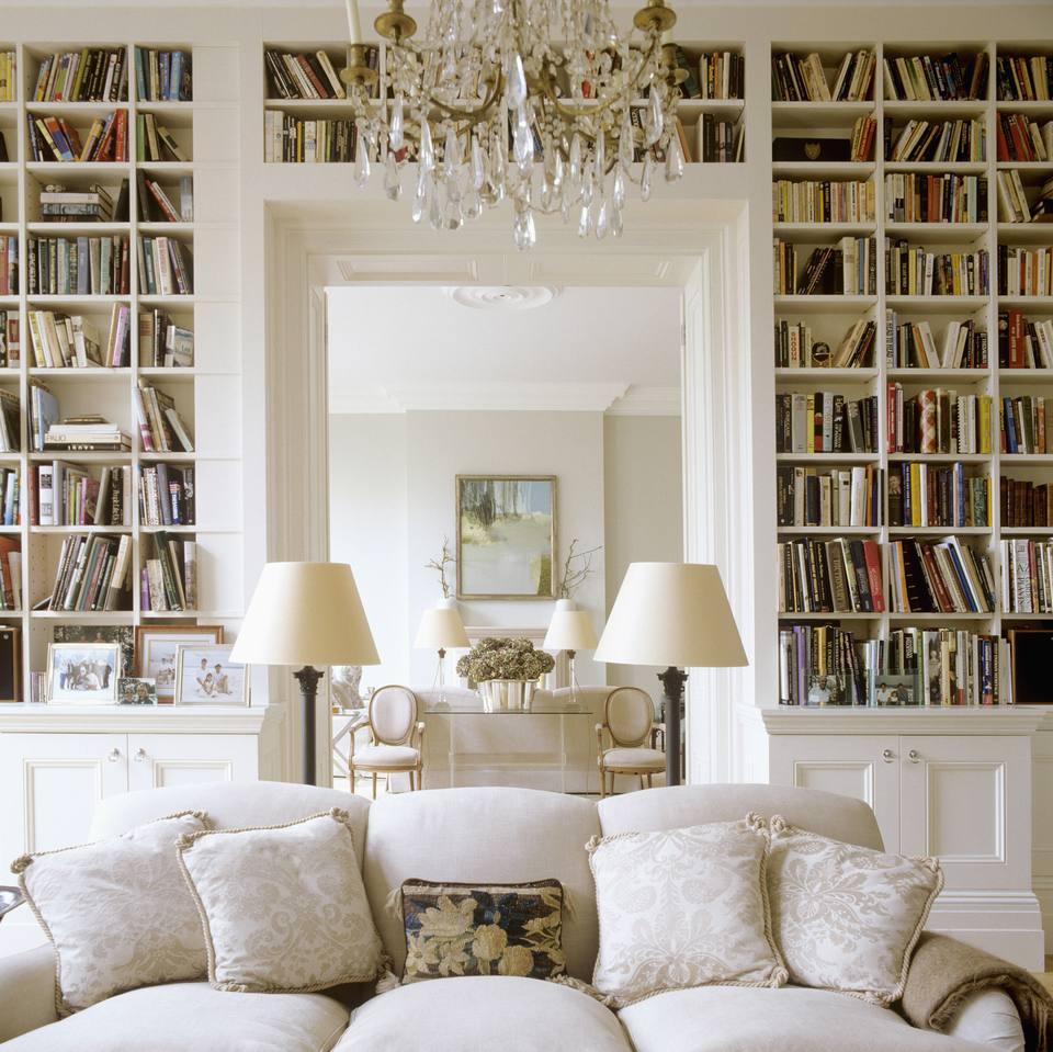 Bookshelves in an elegant living room
