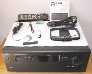 NAD T748 7.1 Channel Home Theater Receiver - Front View w/Included Accessories