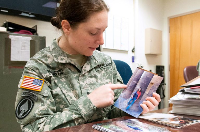 1st Lt. Andrea M. Nevistic, an intelligence analyst with the 82nd Airborne Division's 1st Brigade Combat Team