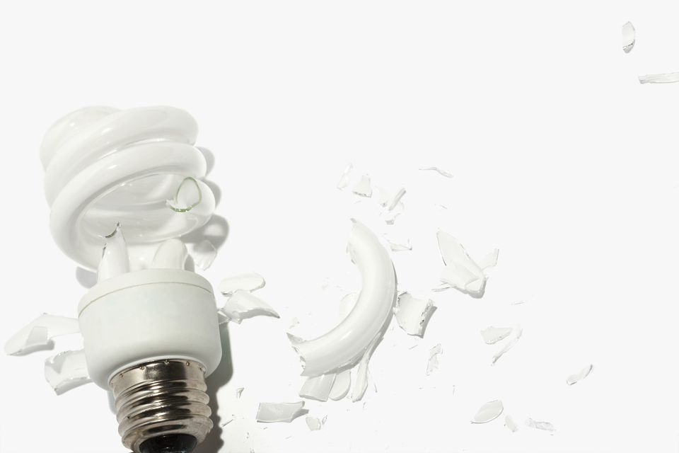 Broken compact fluorescent light bulb