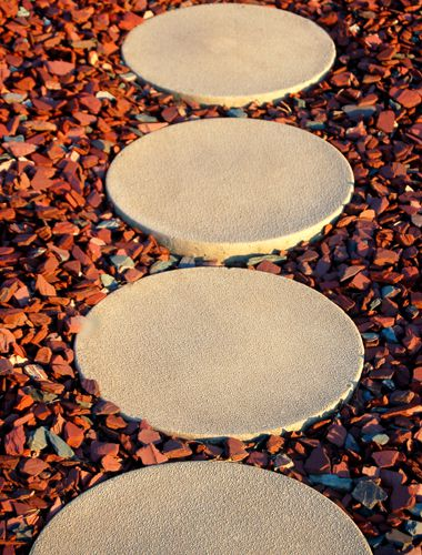 Picture of a concrete stepping stone walkway.