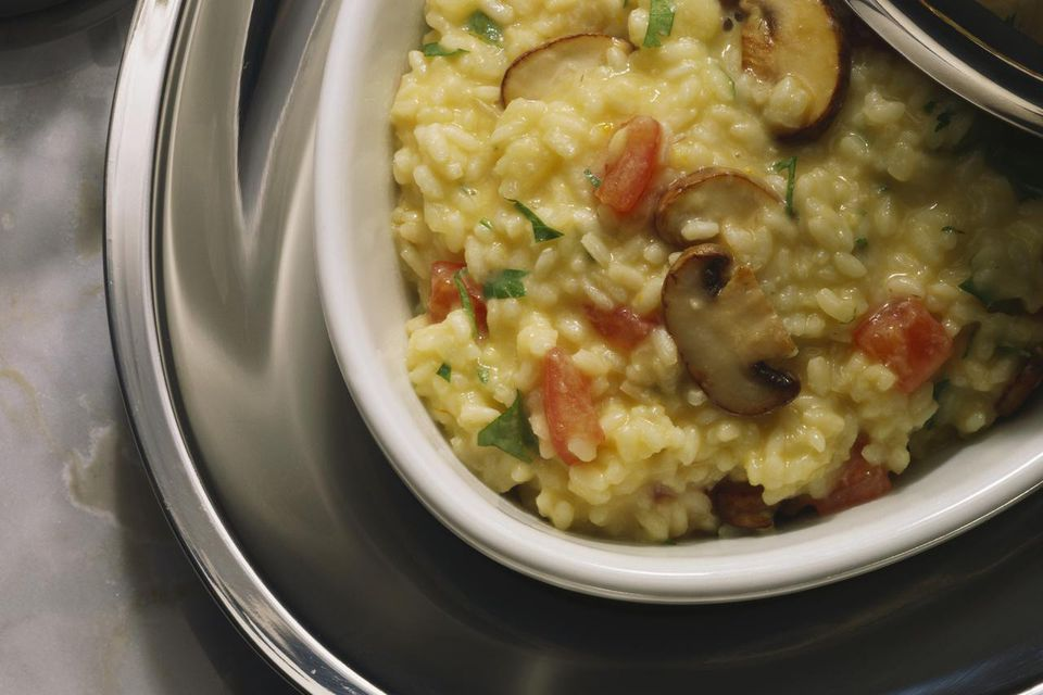 Risotto with vegetables and mushrooms